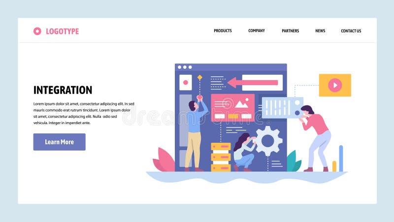 De vectorontwerpsjabloon van de websitegradiënt Software en websiteontwikkeling Team die nieuwe app integratie bouwen landing royalty-vrije illustratie