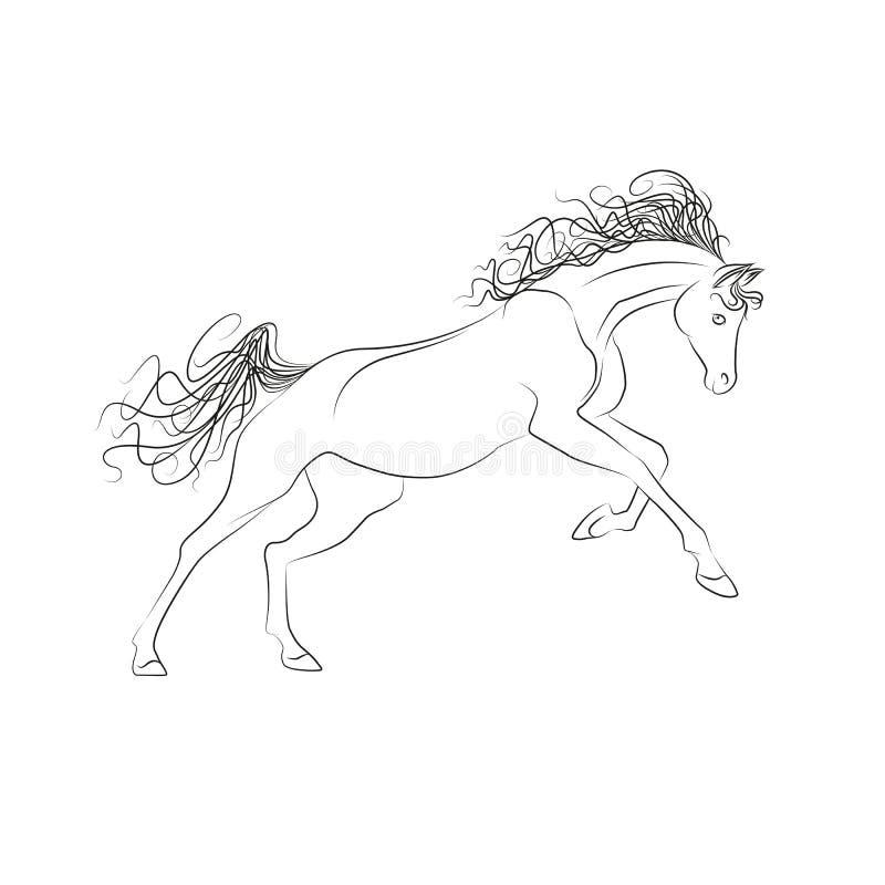 De vectorpaarden van de overzichtstekening Het paard galopperen, manen en staart het fladderen royalty-vrije illustratie