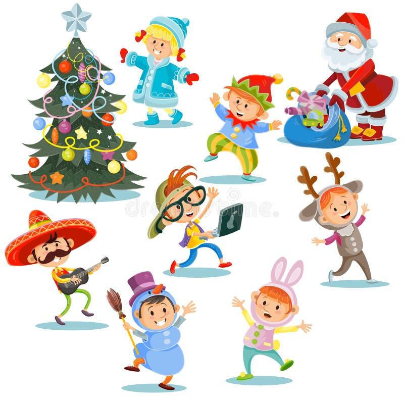 De vectorpartij van Kerstmiscarnaval, beeldverhaalkinderen in kostuums, Santa Claus met stelt voor jonge geitjes in kostuums voor stock illustratie