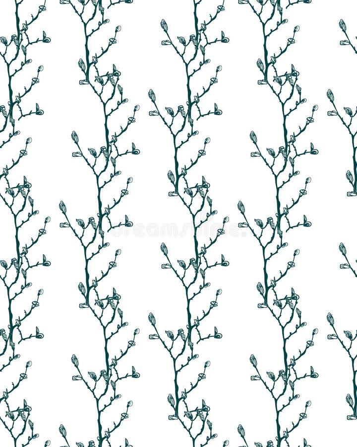 De vectorpatrooninstallatie graveert de schets van inkttakken vector illustratie
