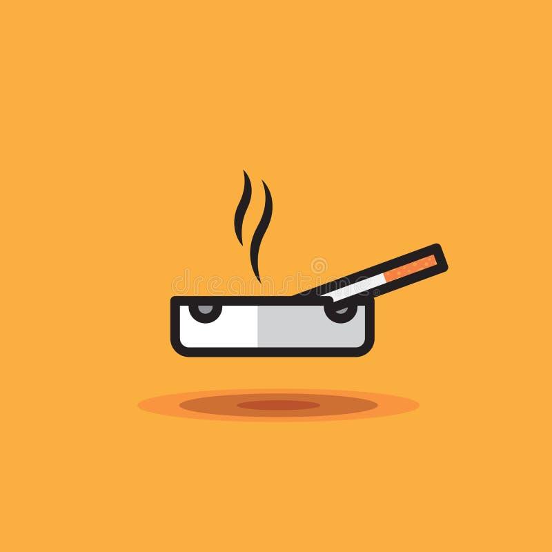 De vectorpictogram rokende sigaret ligt op asbakje op oranje achtergrond Illustratiesigaret op asbakje vector illustratie