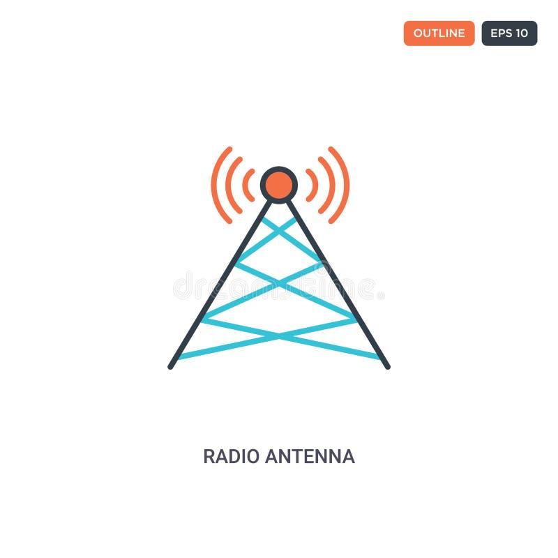 2 de vectorpictogram van de de conceptwijn van de antenne van de kleurenradio van het concept het geïsoleerde twee gekleurde het  royalty-vrije illustratie