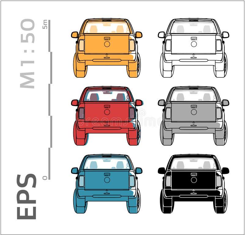 De vectorpictogrammen van de bestelwagen cuv auto die voor architecturale tekening en illustratie worden geplaatst stock illustratie