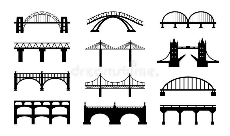 De vectorpictogrammen van bruggensilhouetten vector illustratie