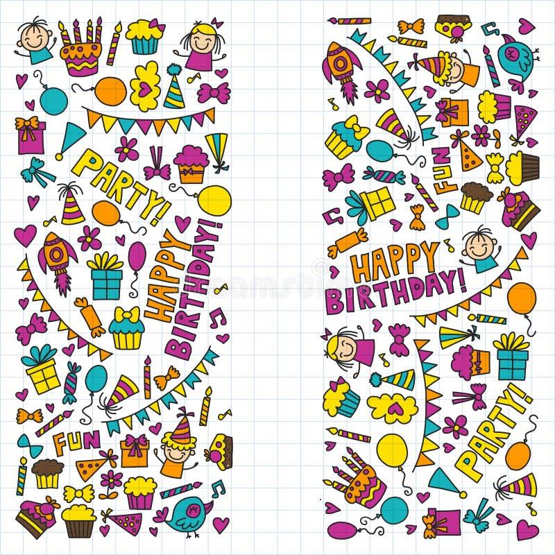 De vectorpictogrammen van de de Kinderenverjaardag van de jonge geitjespartij in de Illustratie van de krabbelstijl met kinderen, royalty-vrije illustratie