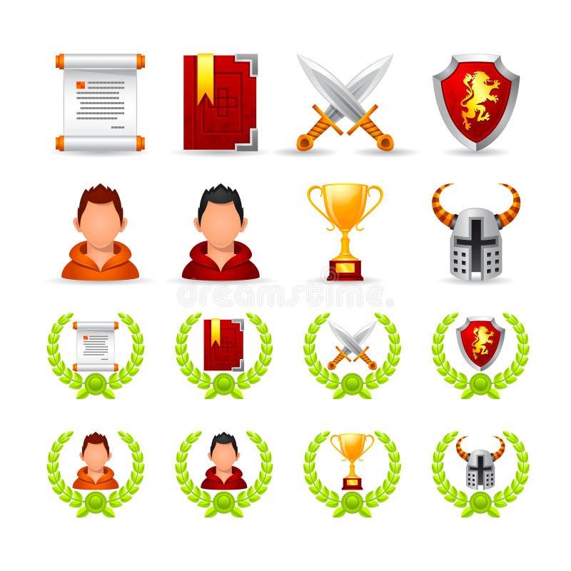Reeks pictogrammen op een themaspel vector illustratie