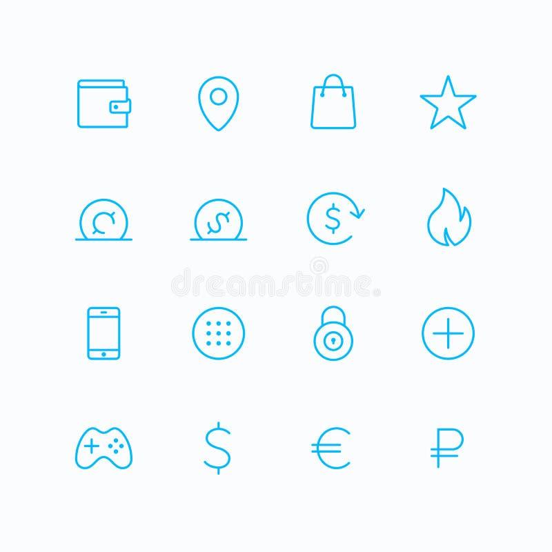 De vectorpictogrammen van de overzichtselektronische handel stock illustratie
