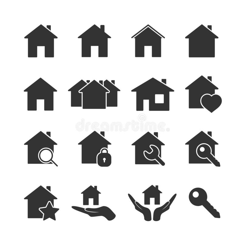 De vectorpictogrammen van het beeld vastgestelde huis stock foto's