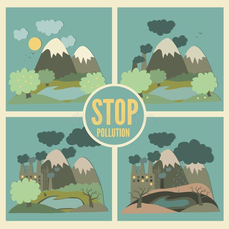 De Vectorpictogrammen van het ecologieconcept die voor Milieu worden geplaatst stock illustratie