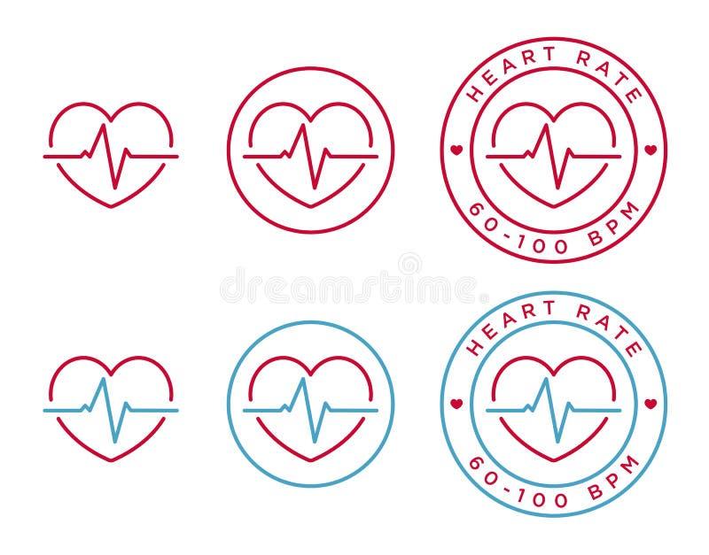 De vectorpictogrammen van het harttarief stock illustratie