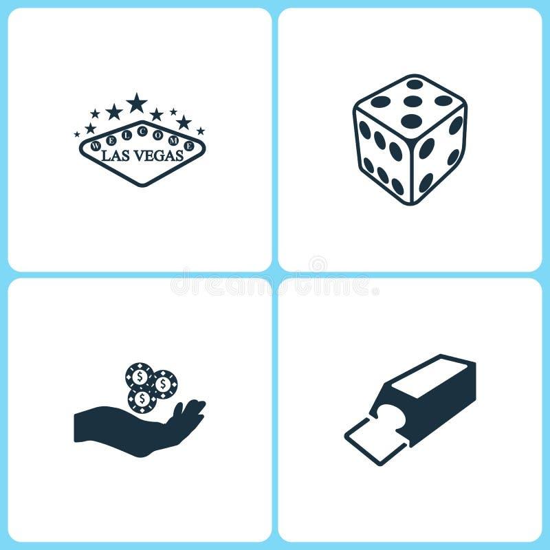 De vectorpictogrammen van het Illustratie Vastgestelde Casino De elementen van Las Vegas, dobbelen spel, Spaanders op het de hand royalty-vrije illustratie