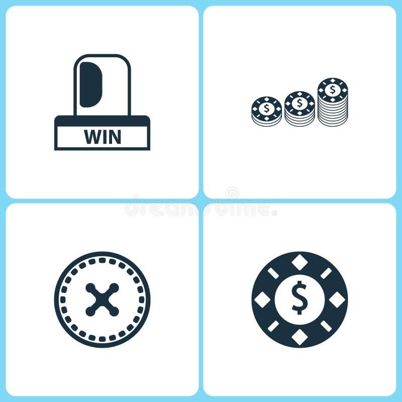 De vectorpictogrammen van het Illustratie Vastgestelde Casino Elementen van Winst flitser, Roulette en het Gokken spaanderspictog royalty-vrije illustratie