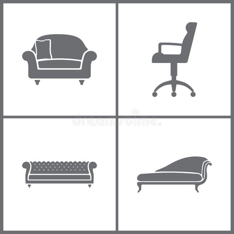 De vectorpictogrammen van het Illustratie Vastgestelde Kantoormeubilair Elementen van Leunstoel, Ijskast, Plank en televisietoest royalty-vrije illustratie