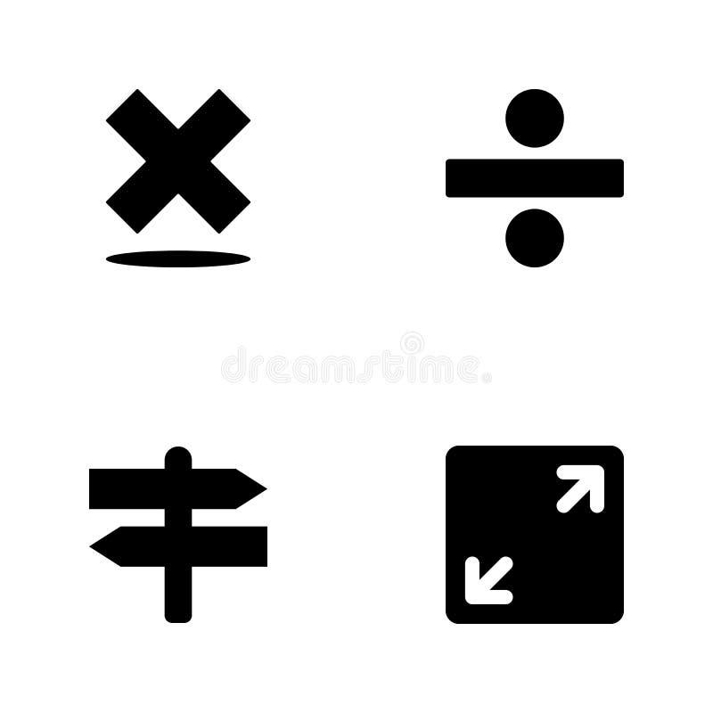 De vectorpictogrammen van het illustratie vastgestelde Web Elementen open teken, kruispunten, deelteken en van het verbodsteken p vector illustratie