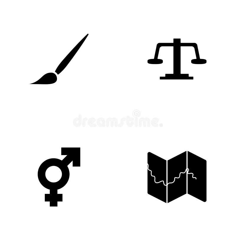 De vectorpictogrammen van het illustratie vastgestelde Web Elementenkaart, transsexueelteken, Weegschaal en borstelpictogram royalty-vrije illustratie