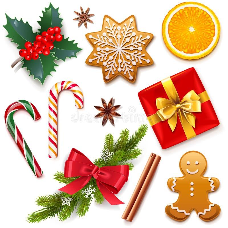 De vectorpictogrammen van het Kerstmissymbool stock illustratie