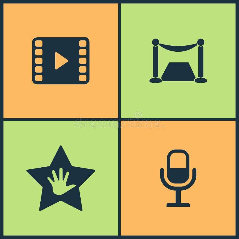 De vectorpictogrammen van de Illustratie Vastgestelde Bioskoop Elementen van Komedie acterenmaskers, Luidspreker, Pauze en Einde  royalty-vrije illustratie