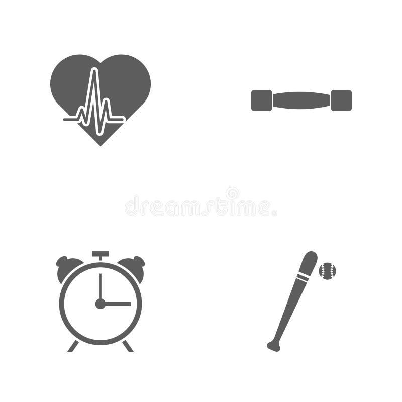 De vectorpictogrammen van de illustratie vastgestelde sport Elementenbeetje en bal, wekker, lichtgewichtdomoren en hartkloppingsp royalty-vrije illustratie