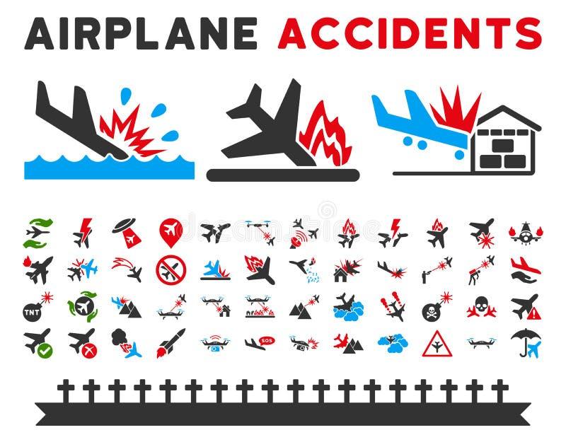 De Vectorpictogrammen van luchtvaartongevallen royalty-vrije illustratie