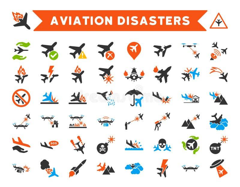 De Vectorpictogrammen van luchtvaartrampen stock illustratie