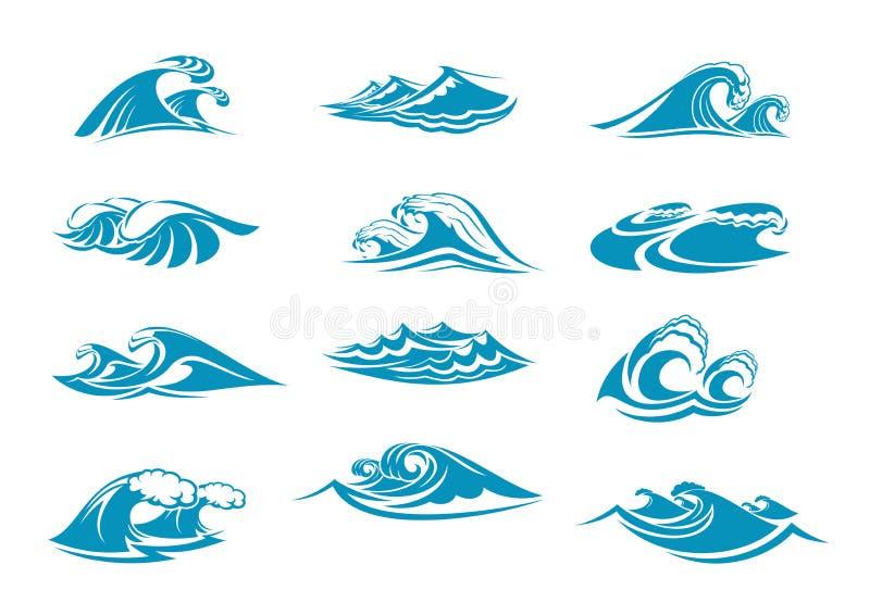 De vectorpictogrammen van ocen de blauwe plons van de watergolf royalty-vrije illustratie