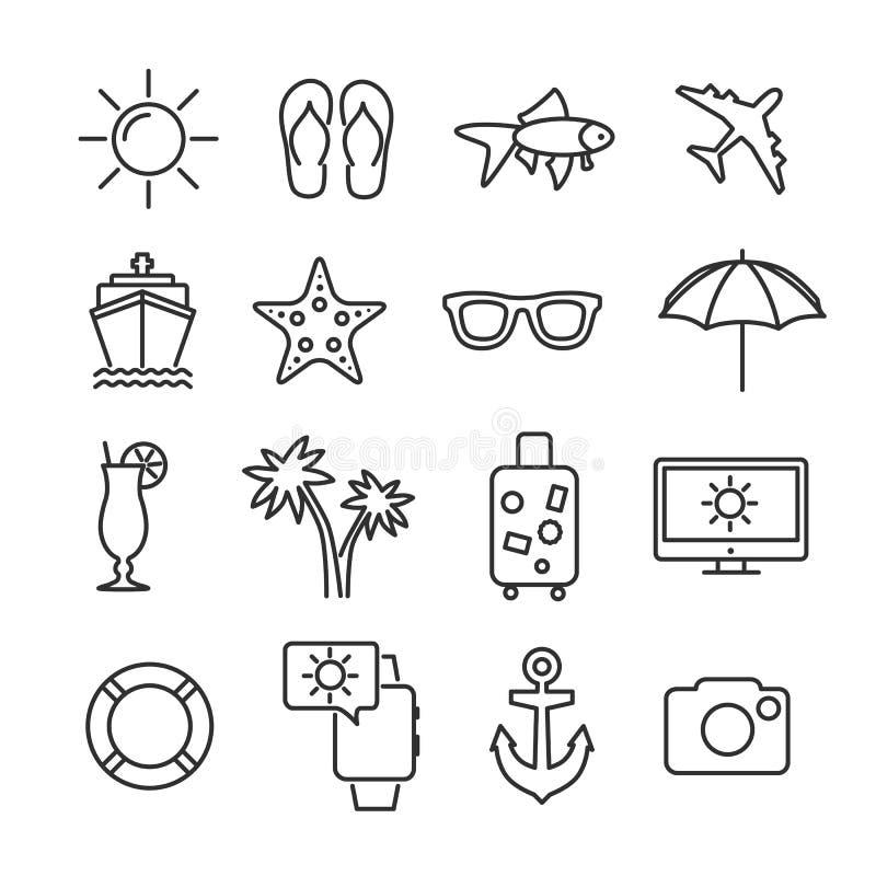 De vectorpictogrammen van de de vakantielijn van de beeld vastgestelde zomer vector illustratie
