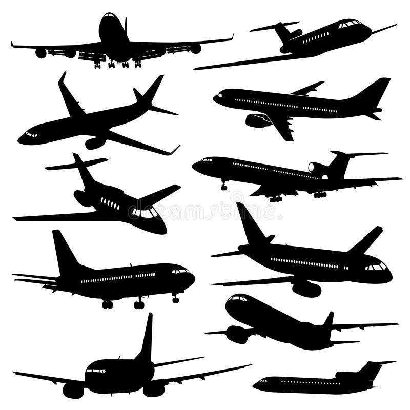De vectorpictogrammen van de vluchtluchtvaart Vliegtuig zwarte silhouetten stock illustratie