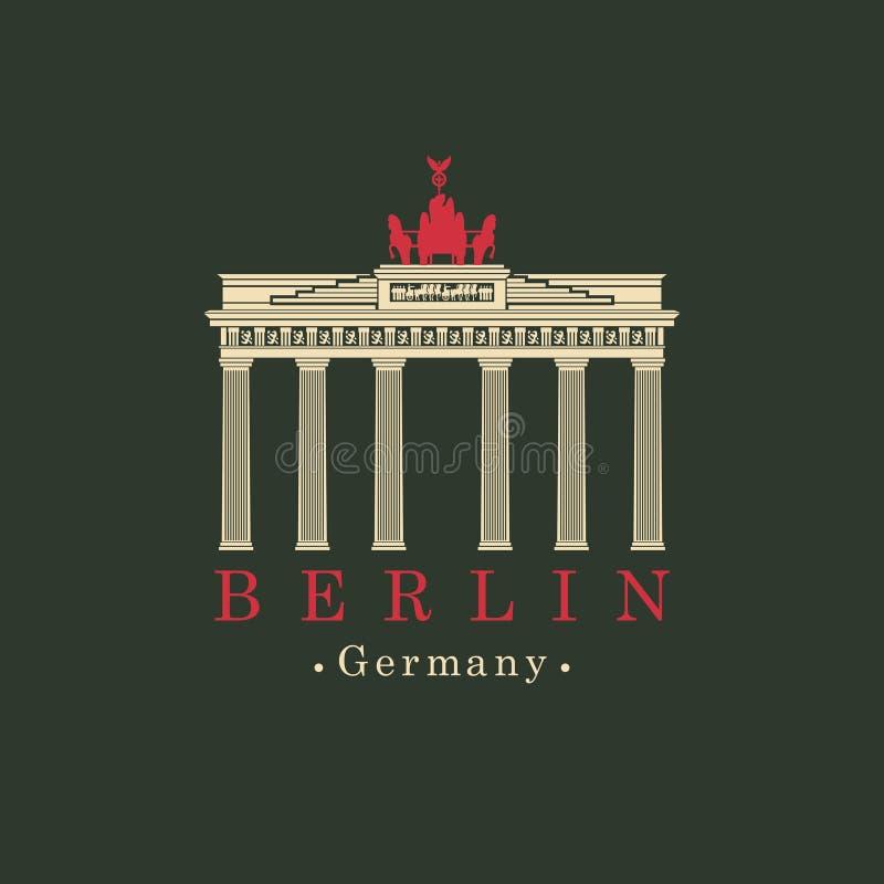 De vectorpoort van beeldbrandenburg in Berlijn vector illustratie
