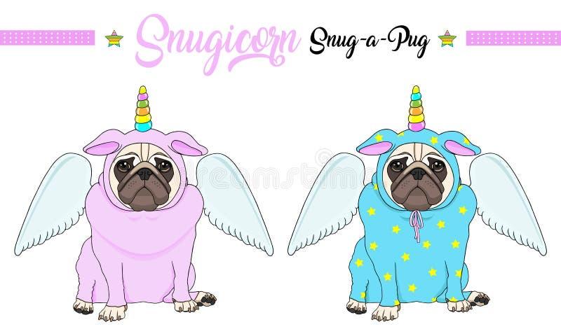 De vectorpug zitting van de puppyhond neer, dragend roze en blauwe jumpsuit met eenhoornhoorn met regenboogkleuren en engelenvleu royalty-vrije illustratie