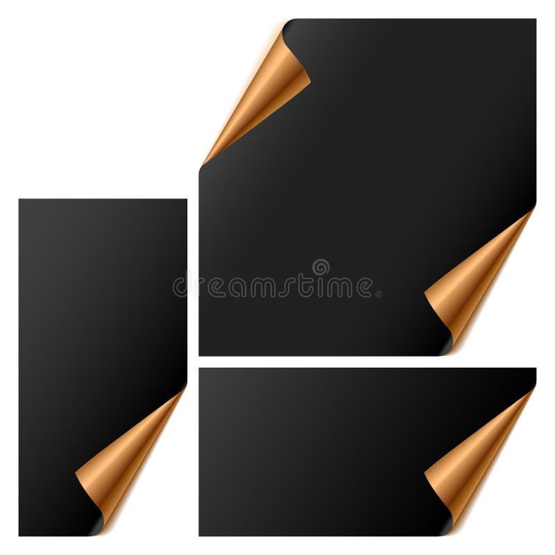 De vectorreeks bladen met gedraaide hoeken stock illustratie