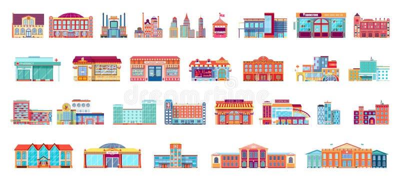 De vectorreeks geïsoleerde gebouwen van de pictogrammenarchitectuur in vlakke stijl vector illustratie