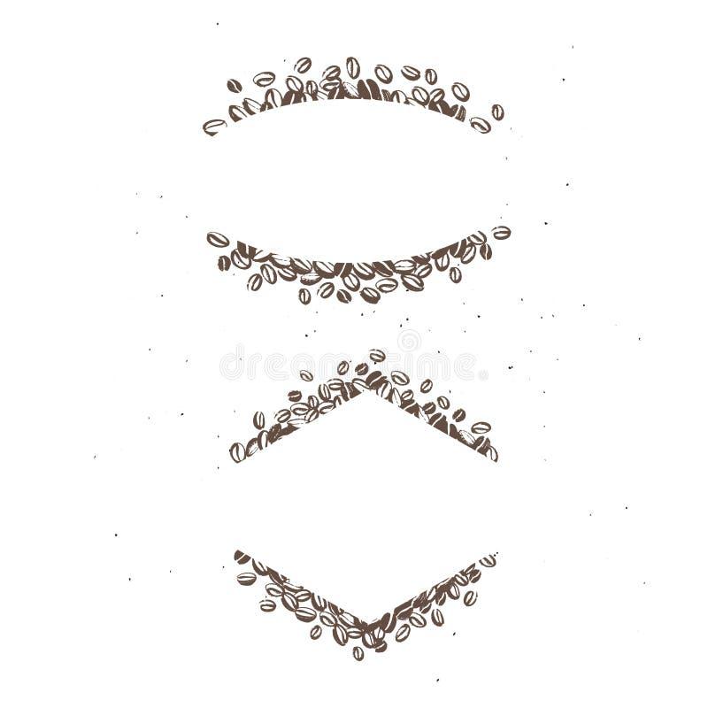 De vectorreeks hand getrokken eenvoudige die kaders maakte met koffiebonen op witte achtergrond worden geïsoleerd stock illustratie