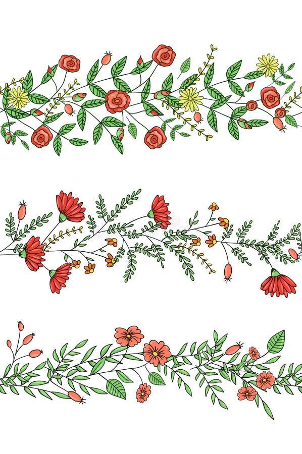 De vectorreeks het patroonborstels van de tuininstallatie met gestileerd nam, madeliefje, anjer, rozemarijn toe De hand getrokken vector illustratie