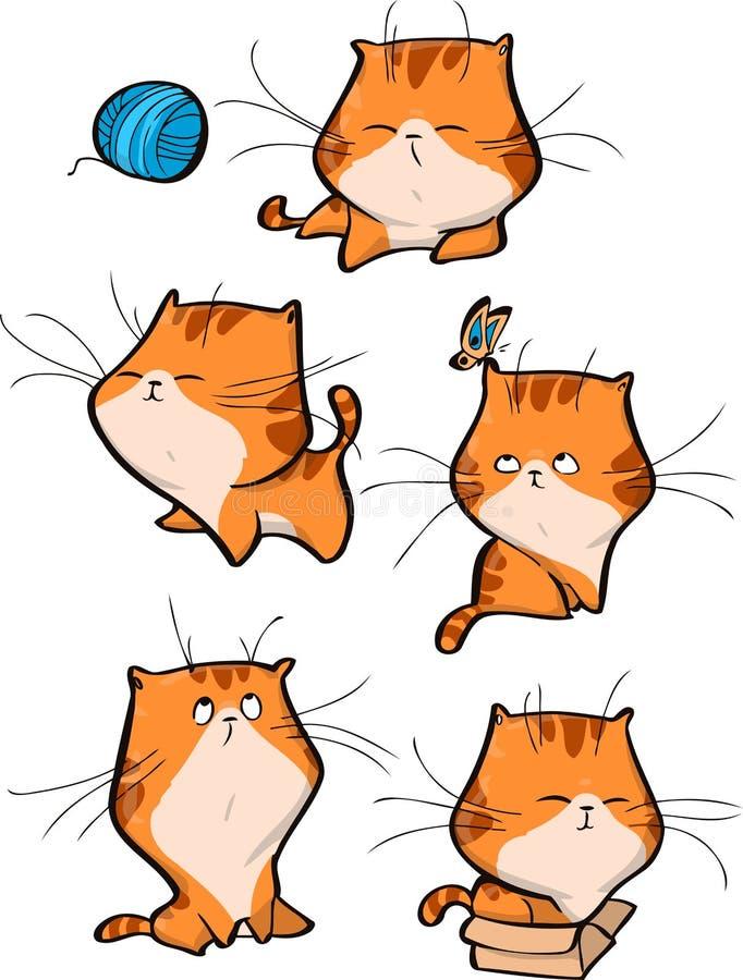 De vectorreeks leuke oranje karakters van de gestreepte katkat in verschillende actie stelt geïsoleerd op witte achtergrond royalty-vrije illustratie