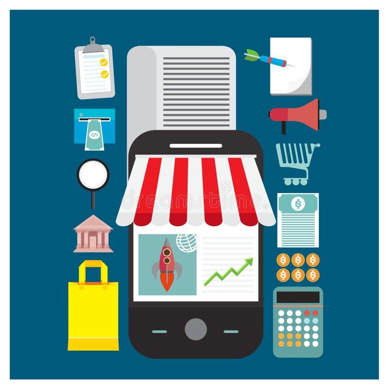 De vectorreeks online het winkelen illustratie van de opslagwinkel mobiel sparen document stock illustratie