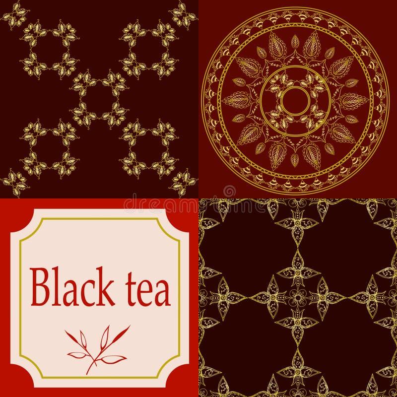 De vectorreeks ontwerpelementen en de pictogrammen in in lineaire stijl voor thee verpakken - assam, Indische en zwarte thee royalty-vrije illustratie
