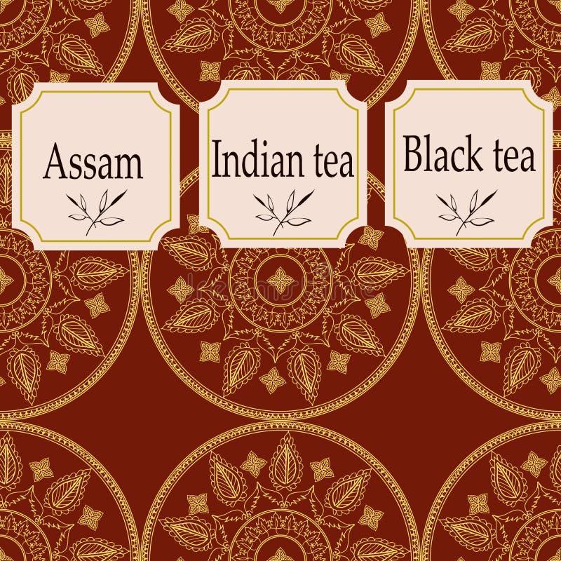 De vectorreeks ontwerpelementen en de pictogrammen in in lineaire stijl voor thee verpakken - assam, Indische en zwarte thee stock illustratie