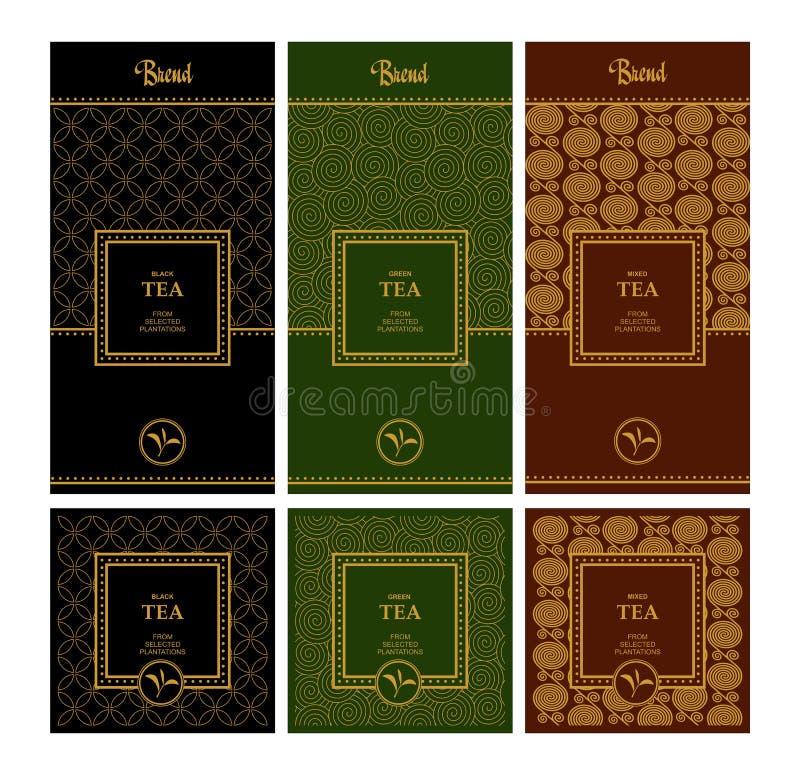De vectorreeks ontwerpelementen en de pictogrammen in in lineaire stijl voor thee verpakken - gemengde, zwarte en groene thee royalty-vrije illustratie