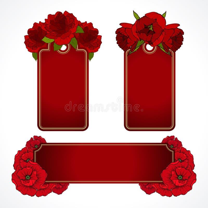 De vectorreeks rode bloemenbanners etiketteert etiketten Groetkaart, Valentijnskaartendag, de achtergrond van de het ontwerpliefd royalty-vrije illustratie