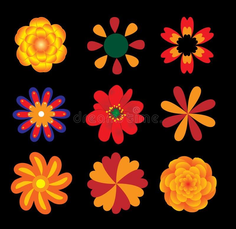 De vectorreeks van bloemen vector illustratie