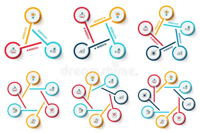 De vectorreeks van cirkelinfographics vector illustratie
