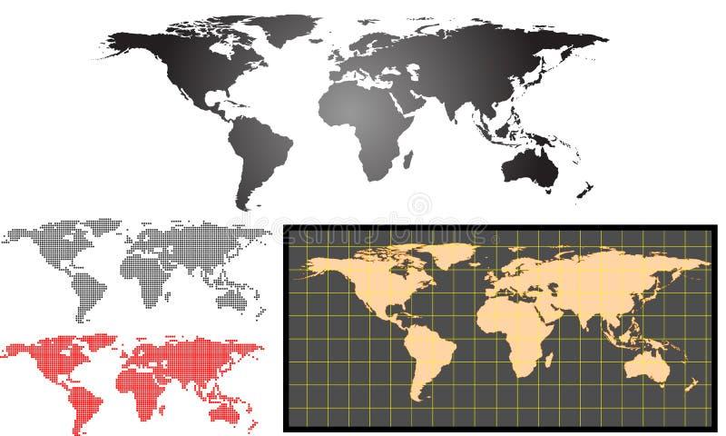 De vectorreeks van de aardekaart stock afbeelding