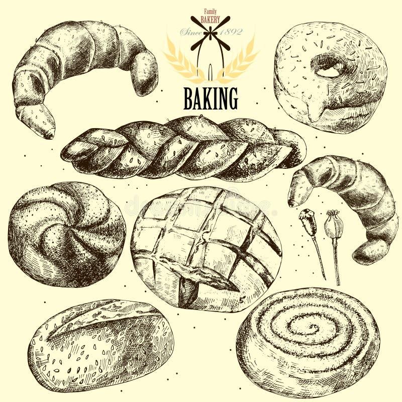 De vectorreeks van de bakkerij Getrokken hand vector illustratie