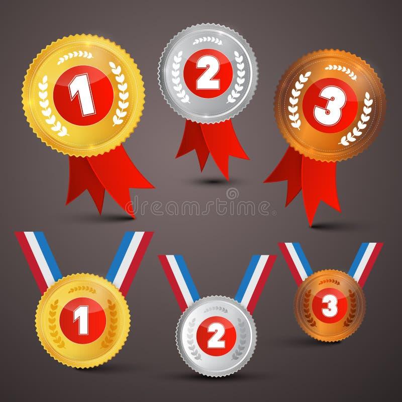 De Vectorreeks van de medaillestoekenning royalty-vrije illustratie