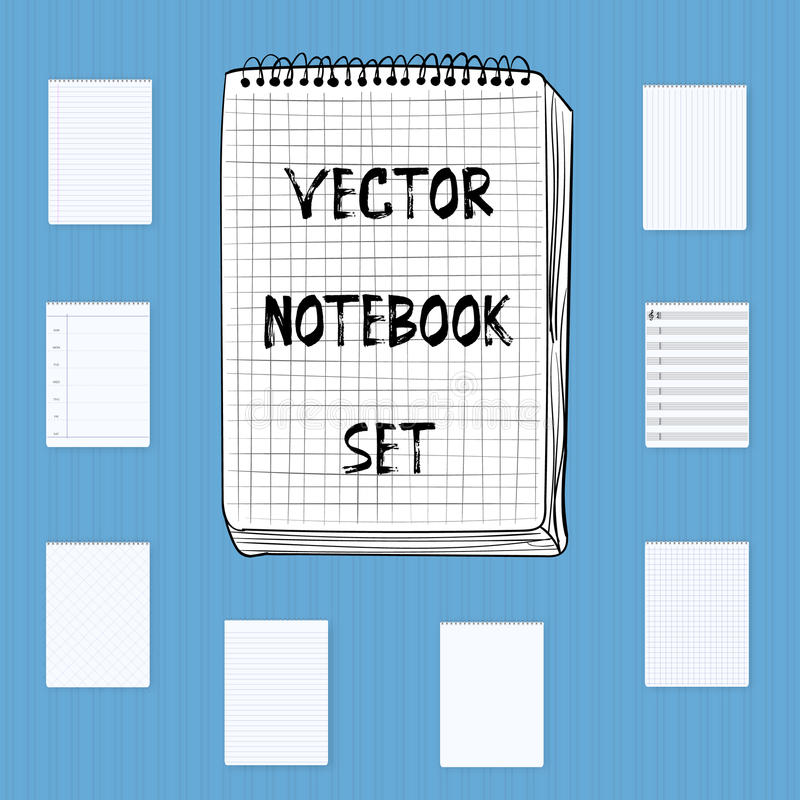 De vectorreeks van de Notitieboekjeblocnote Omvat realistisch, getrokken hand, musi royalty-vrije illustratie