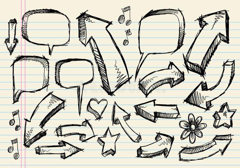 De Vectorreeks van de Pijl van de Bel van de Toespraak van de Schets van de krabbel royalty-vrije illustratie