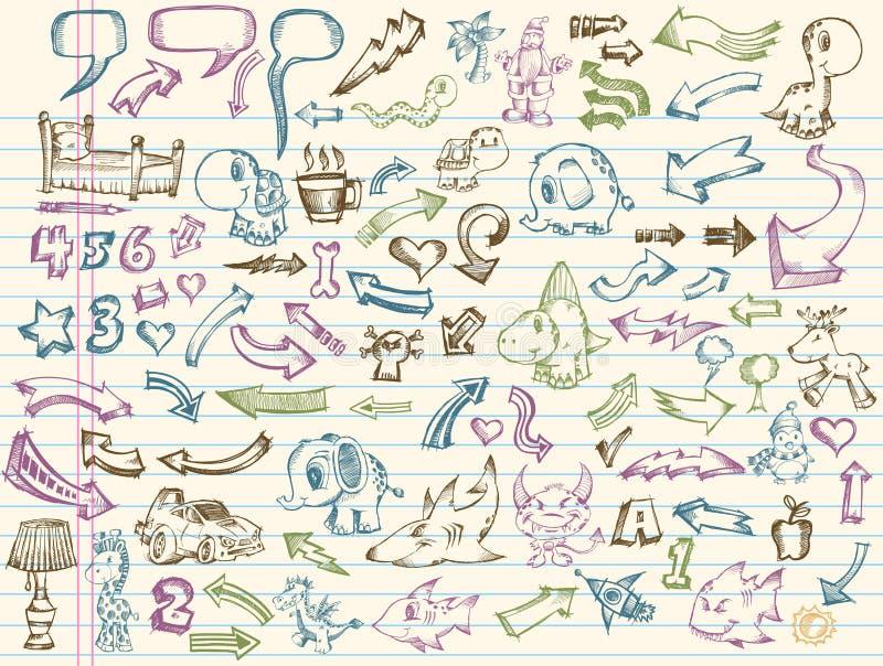 De VectorReeks van de Schets van de krabbel stock illustratie