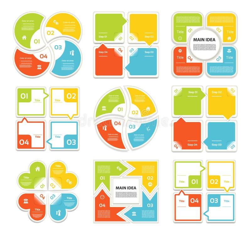 De vectorreeks van de streepinfographics van cirkelpijlen Malplaatje voor cyclusdiagram, grafiek, presentatie en ronde grafiek Be stock illustratie