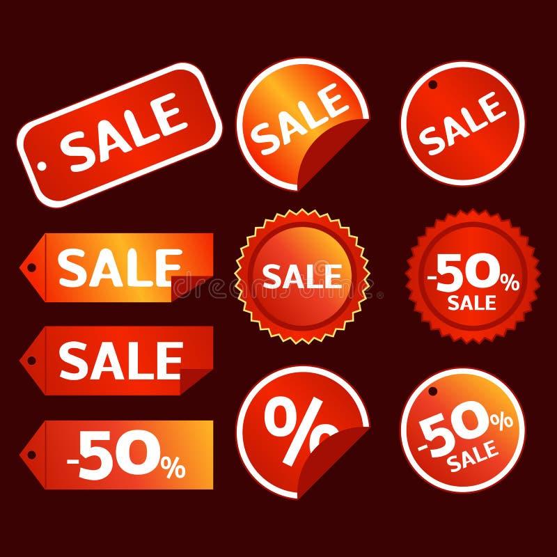 De vectorreeks van de verkoopmarkering royalty-vrije illustratie
