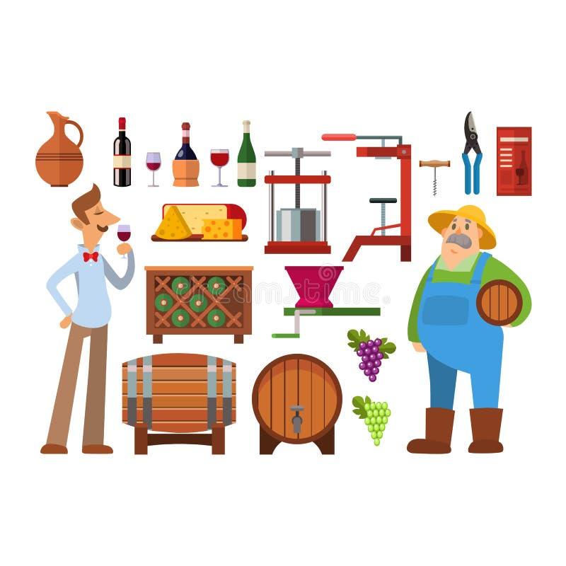 De vectorreeks van de wijnproductie royalty-vrije illustratie